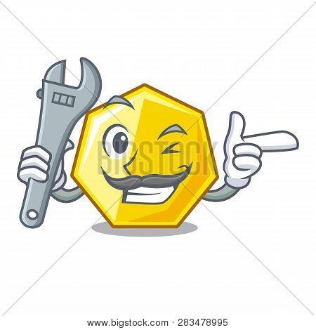 Mechanic Heptagon Stick On The Cartoon Door