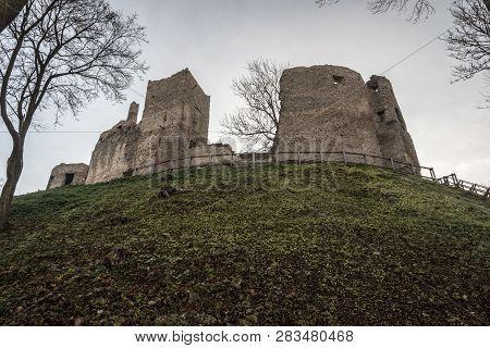 Povazsky Hrad Castle Ruins Above Povazska Bystrica City In Slovakia During Autumn Morning