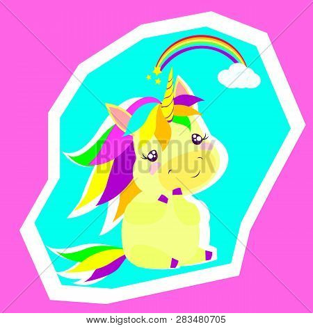 Vector Flat Illustration With Cute Unicorn, Rainbow, Stars, Clowd. Zine Art Style