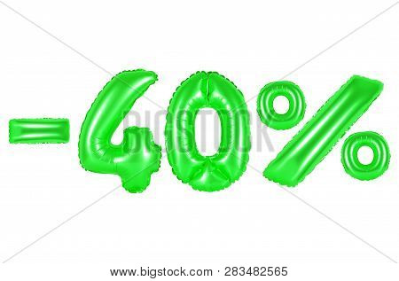 Forty Percent Off, Green Number And Letter Balloon