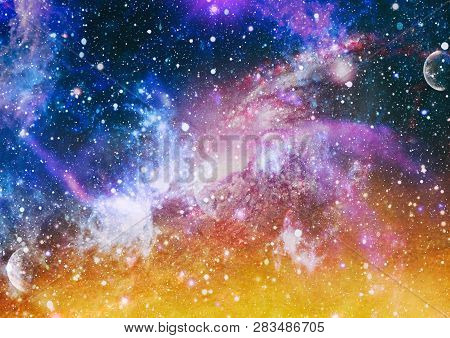 Nebula Night Starry Sky In Rainbow Colors. Multicolor Outer Space. Deep Space Many Light Years Far F