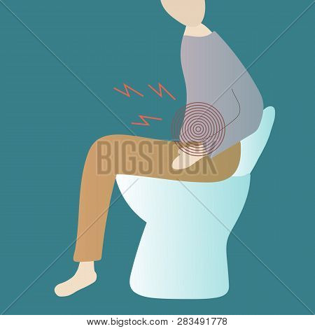 A Man Sitting On The Toilet Bowl And Suffering From Constipation. Vector Illustration.