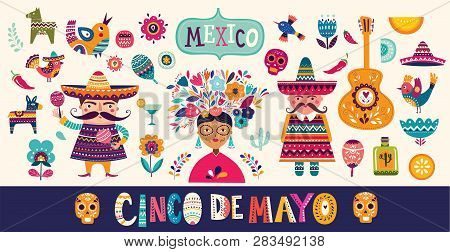 Mexican Collection. Beautiful Vector Illustration With Design For Mexican Holiday 5 May Cinco De May