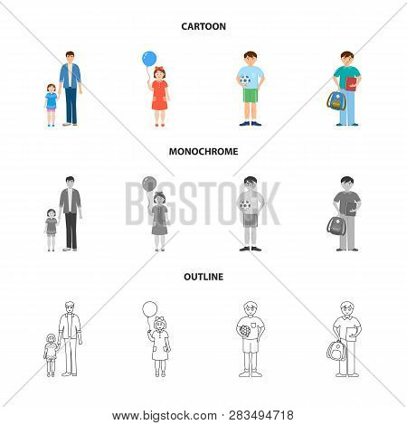 Vector Design Of Character And Avatar  Logo. Set Of Character And Portrait Vector Icon For Stock.