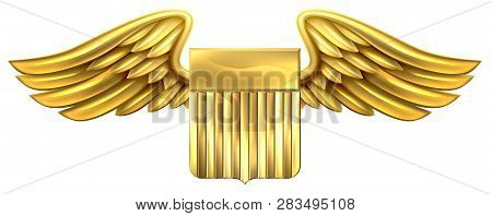 A Winged Gold Golden Metallic Shield Heraldic Heraldry Coat Of Arms Design With United States Flag S
