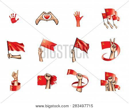 Red Flag And Hand On White Background. Vector Illustration