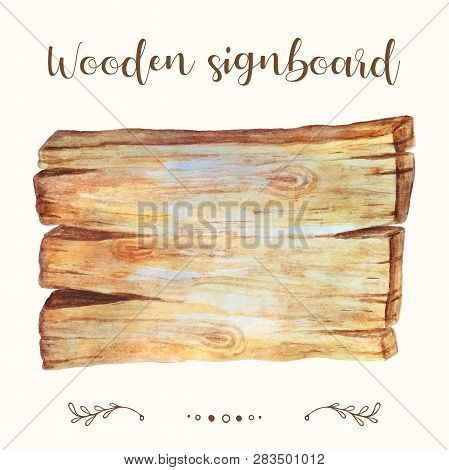 Wooden Signboard, Plank Vector. Wooden Signboard, Plank Vector Illustration For Text, Web, Sale Bann