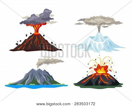 Volcano Eruption Set With Magma, Smoke, Ashes Isolated On White Background. Volcanic Activity Hot La