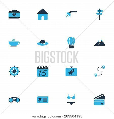 Journey Icons Colored Set With Coffee, The Mountains, Suitcase Female And Other Airline Pass Element