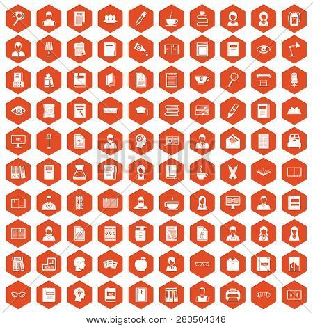 100 Reader Icons Set In Orange Hexagon Isolated Illustration