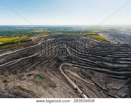 Panoramic Aerial View Of Abandoned Coal Mine. Canned Quarry. Open Coal Mining, Antarcite Mining