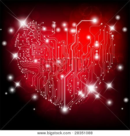 Valentine's background with electric board heart shape and lights