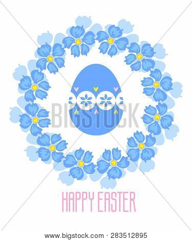 Blue Easter Vector Composition. Isolated From The Background. Eps 10