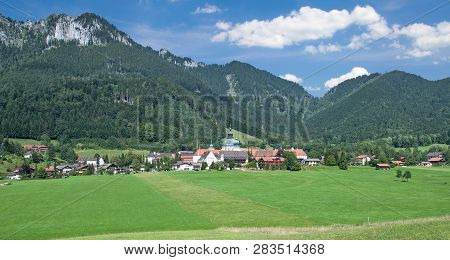 Village Of Ettal With Famous Ettal Abbey In Upper Bavaria,germany