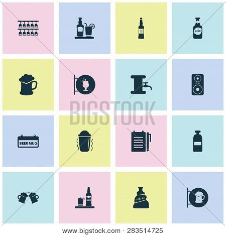 Drink icons set with vodka, draught, column and other tap elements. Isolated  illustration drink icons. poster
