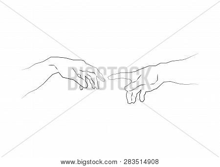 Genesis Hands, Touch of god. Spirituality. Sketch drawing vector illustration isolated or white background