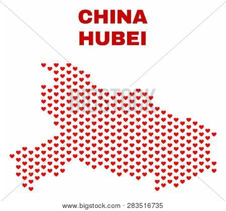 Mosaic Hubei Province Map Of Love Hearts In Red Color Isolated On A White Background. Regular Red He