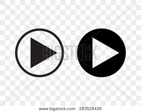 Play Button Vector Icon, Music Audio And Video Player Play Button In Circle