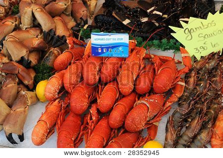 stall of crustacean on the Trouville market poster