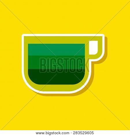 Paper Sticker On Stylish Background Coffee Cup Latte Macchiato