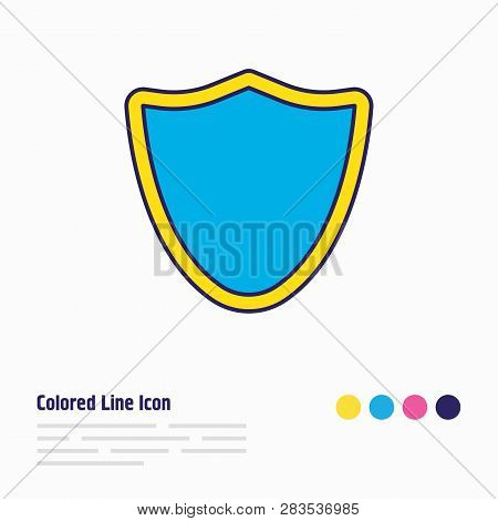 Vector Illustration Of Shield Icon Colored Line. Beautiful Web Element Also Can Be Used As Protectio