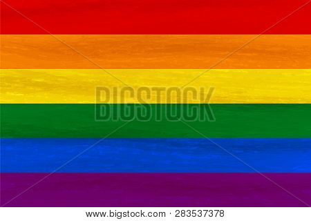 Lesbian, Gay, Bisexual, Transgender Lgbt Pride Flag. Rainbow Flag. Gay And Lesbian Love. Watercolor