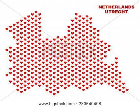 Mosaic Utrecht Province Map Of Valentine Hearts In Red Color Isolated On A White Background. Regular