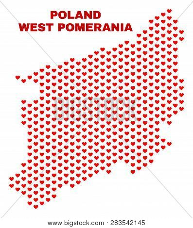 Mosaic West Pomeranian Voivodeship Map Of Love Hearts In Red Color Isolated On A White Background. R