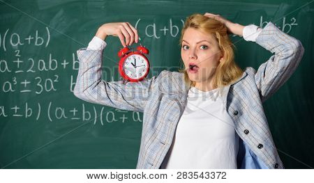She Care About Discipline. Woman Teacher Hold Alarm Clock. Lessons Schedule Concept. Time For Break.