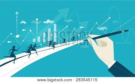 Business People Running On The Way To Success. The Hand Pointing Direction. Business Concept Illustr