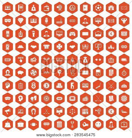 100 Sweepstakes Icons Set In Orange Hexagon Isolated Illustration