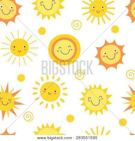 Sun Seamless Pattern. Summer Hot Weather Sunshine Heat Funny. Doodle Sun Vector Endless Texture. Ill