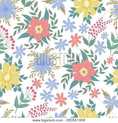 Spring Flowers Seamless Patten. Garden Summer Flower Motif Floral Texture Vector Backgrond. Backgrou
