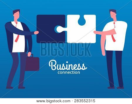 Cartoon Businessmen With Puzzles. Business Cooperation Vector Concept. Businessman Cooperation Busin