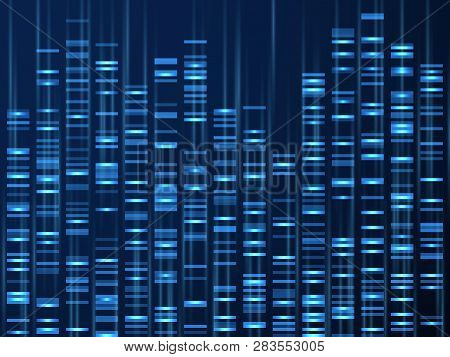 Genomic Data Visualization. Dna Genome Sequence, Medical Genetic Map. Genealogy Barcode Vector Backg