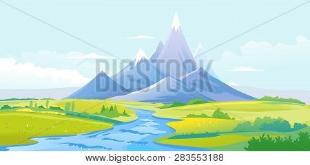 Twisty River In The Picturesque Valley Flows Out Of The High Mountains With Sharp Peaks And Green Pi