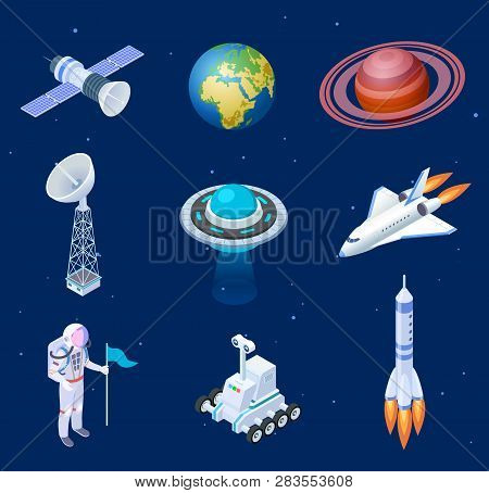 Isometric Spaceships. Space Satellite Rocket Telescope Globe Spaceman Astronaut. Missile Spacecraft