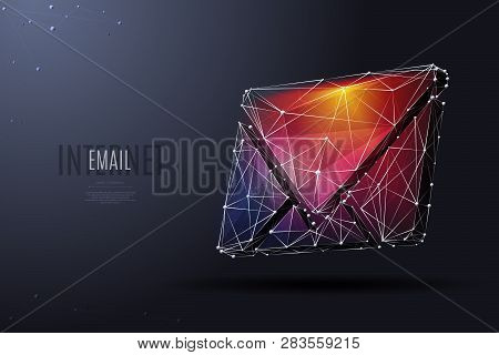 Electronic Mail. Low Poly Wireframe Vector Illustration. Concept Of Postal Internet Service. Technol