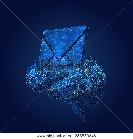 Email Symbol On The Brain Background. Low Poly Wireframe Vector Illustration. Concept Of Email Manag