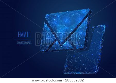 Email Symbol On The Pc Tablet Screen. Low Poly Wireframe Vector Illustration. Concept Of Postal Inte