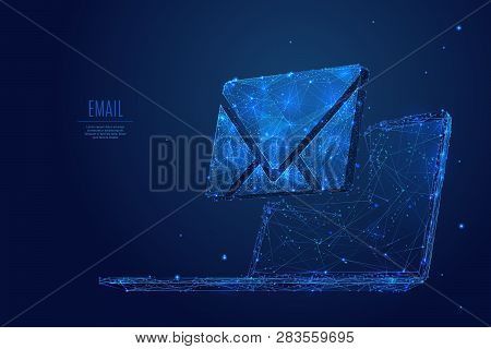 Email Symbol On The Laptop Monitor Screen  Low Poly Wireframe Vector Illustration. Concept Of Postal