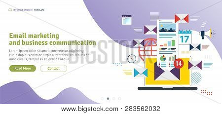 Email Marketing And Business Communication, Send And Receive Email, Email Inbox. Notification New Me