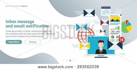 Inbox Message And Email Notification. Communication And Email Marketing, Send Email, Email Inbox. No