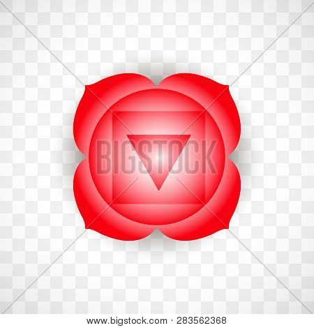 Root Chakra Muladhara In Red Color Isolated On Transparent Background. Isoteric Flat Icon. Geometric