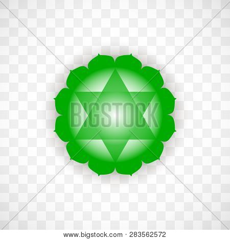 Heart Chakra Anahata In Green Color Isolated On Transparent Background. Isoteric Flat Icon. Geometri