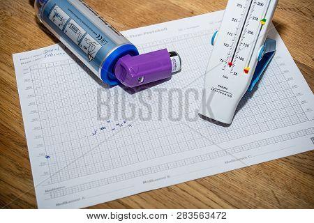 Neuoetting,germany-february 11,2019: Asthma Treatiment Paraphernalia Lying On A Table