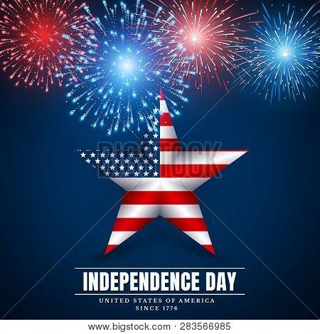 4 Th July Usa Star, Independence Day. Fireworks. Festival Colorful Firework. Vector Llustration On B