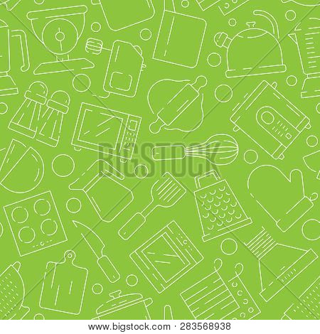 Kitchen Pattern. Cooking Items Baking Food Spoon Fork Knife Pictures For Seamless Print Texture Vect