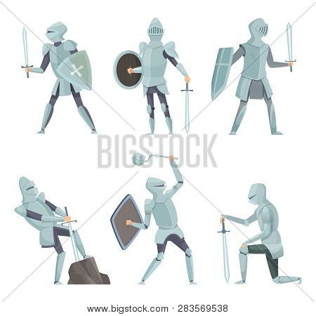Cartoon Knights. Medieval Warrior On Horse Vector Cartoon Characters In Action Poses. Warrior Knight