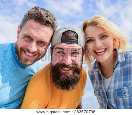 Free And Carefree. Sensual Woman And Men Happy Smiling. Circle Of Best Friends. Enjoying Friendship